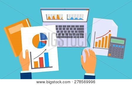 Accounting Work Graph Concept Background. Flat Illustration Of Accounting Work Graph Concept Backgro