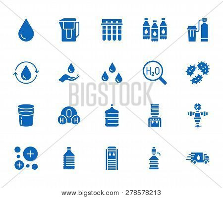 Water drop flat glyph icons set. Aqua filter, softener, ionization, disinfection, glass vector illustrations. Signs for bottle delivery. Solid silhouette pixel perfect 64x64 poster