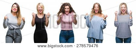 Collage of young beautiful women over isolated background excited for success with arms raised celebrating victory smiling. Winner concept.