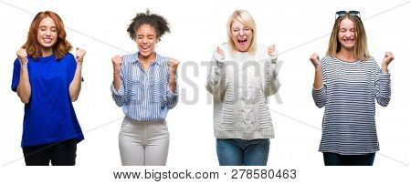 Collage of group of beautiful casual woman over isolated background excited for success with arms raised celebrating victory smiling. Winner concept.