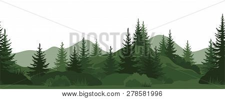 Seamless Horizontal Landscape, Summer Mountain Forest With Fir Trees, Bushes And Grass Green Silhoue
