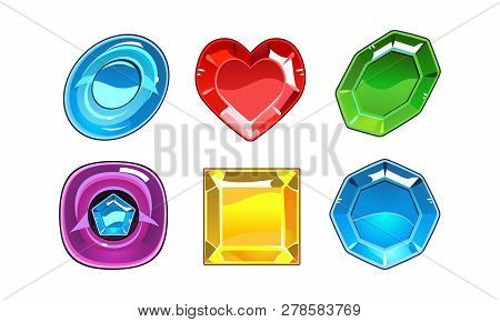 Vector Set Of 6 Glossy Gemstones Of Different Forms. Valuable Stones. Elements For Mobile Game