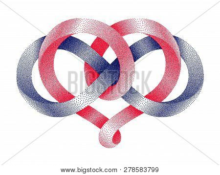Heart Shape And Infinity Symbol Made Of Intertwined Stippled Mobius Strips.. Eternal Love Sign. Vect