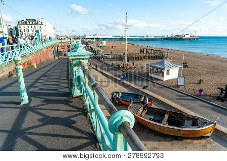 Brighton, England-18 October,2018: Brighton Pier And Bar Beer On Seafront  With Brighton Pier Stair,