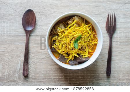 Khao Soi - Traditional Thai Food, Khao Soi Thai Noodle Curry Soup With Chicken On Wood Table, Khao S
