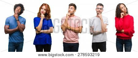 Composition of african american, hispanic and caucasian group of people over isolated white background with hand on chin thinking about question, pensive expression. Smiling with thoughtful face