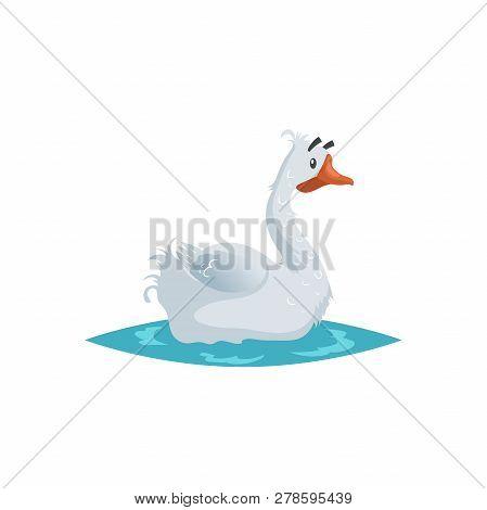 Cute Funny Goose. Cartoon Flat Style Comic Style. Happy Domestic Farm Bird Swimming On Water. Vector