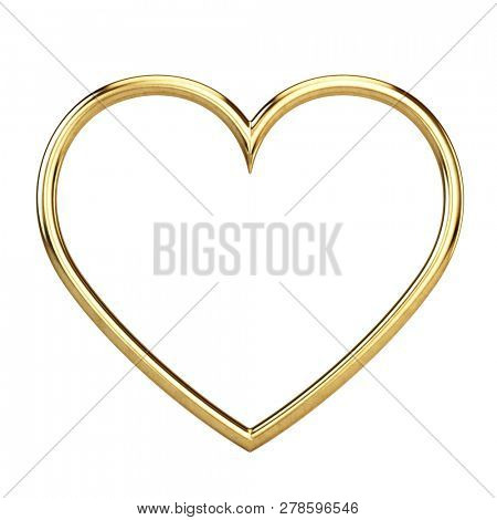 Golden metallic frame on white background - 3d rendering