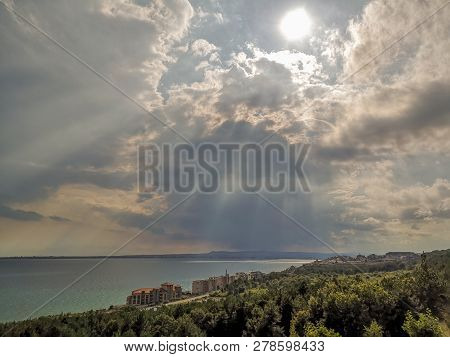Sky Cloud Beauty In Nature Scenics Water Sea Tranquil Scene No People Plant Sunbeam Land Horizon Ove