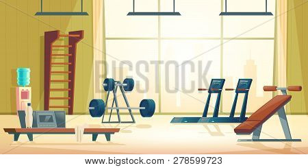 Modern Sport Club Gym Cartoon Vector Interior With Treadmill, Abdominal Bench, Barbell And Dumbbell