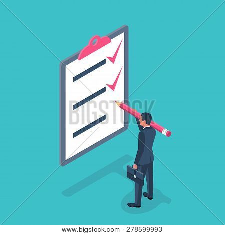 List Completed Tasks. Vector Illustration Isometric Design. Isolated On White Background. Checklist