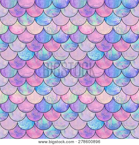 Mermaid Fish Scale Wave Japanese Magic Seamless Pattern. Watercolor Hand Drawn Bright Colorful Backg