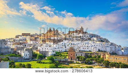 Ostuni White Town Skyline At Sunset, Brindisi, Apulia Southern Italy. Europe.