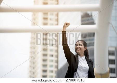 Professional Woman Manager Wear Black Suit Feeling Success And Victory Sign Hand After Complete Job