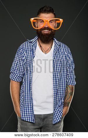 Stay Positive. Man Brutal Bearded Hipster Wear Funny Eyeglasses Accessory. Human Strengths And Virtu