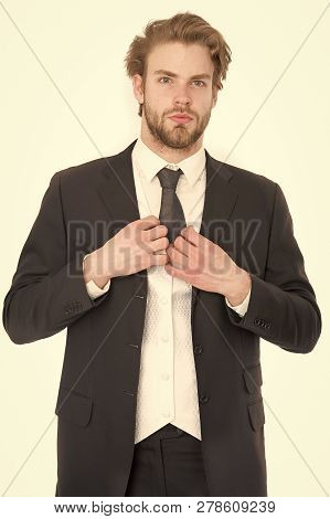 Fashion And Beauty. Manager With Beard On Serious Face. Man In Formal Outfit Isolated On White. Busi