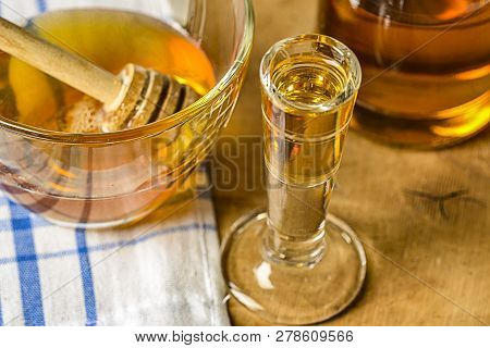 Homemade Mead (honey Wine) On An Old Table Close Up