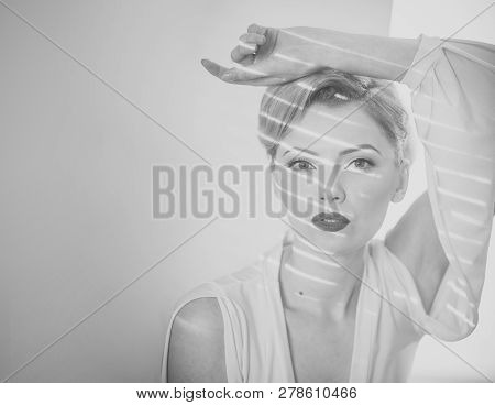 Girl With Strips Of Light And Shadows On Face. Elegant Blonde Concept. Lady With Blonde Hair And Ele