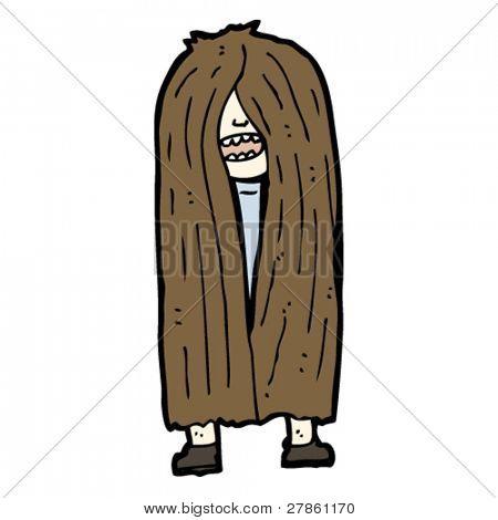 zeer lange haren man cartoon