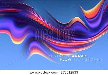 Modern Colorful Flow Poster. Wave Liquid Shape In Black Color Background. Art Design For Your Design
