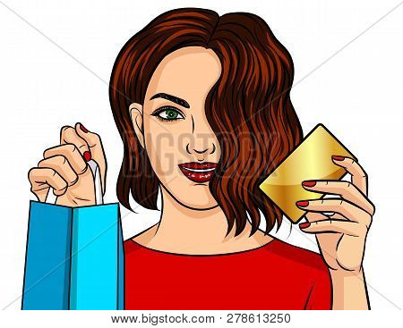 Color Vector Illustration Of A Girl Shopping Online. A Beautiful Girl Holds A Package From The Store