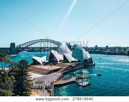 January 10, 2019. Sydney, Australia. Landscape Aerial View Of Sydney Opera House Near Sydney Busines