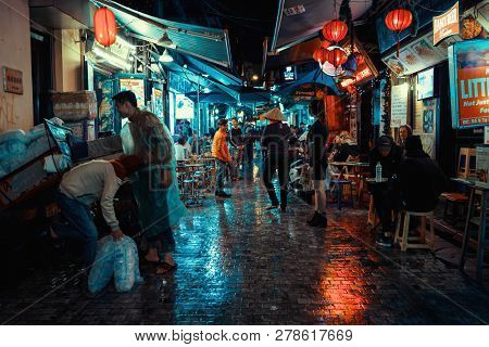 Hanoi, Vietnam - December 08, 2018: Hanoi City Center Street Old Town District At Night