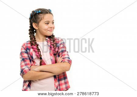 Fashion Trend. Child Little Girl Colorful Braids Fashionable Hairstyle Isolated White. Teenage Fashi