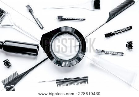 Tools For Hair Dye In Barbershop On White Background Top View