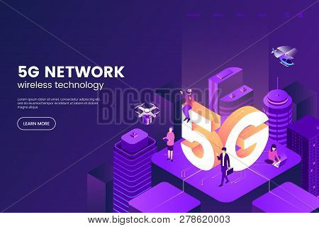 5g Network Wireless Technology Vector Illustration. Isometric Smart City With Big Letters 5g And Tin