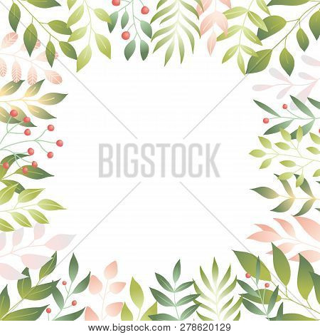 Vector Illustration Of Spring Leaves In Flat Style. Floral Background With Copy Space For Text, Tend