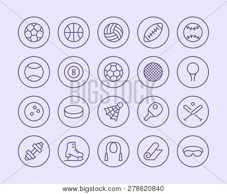Sports Equipment Line Icon. Vector Illustration Flat Style. Included Icons As Sport Balls, Basketbal