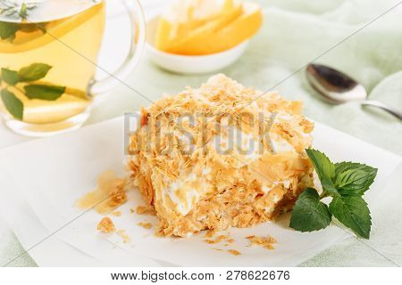 Napoleon Cake Custard Cream Dessert Tea Cup