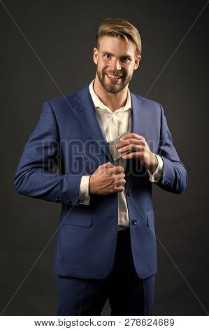 Business Communication And Modern Life. Man In Formal Outfit With Mobile Phone. Manager With Beard O