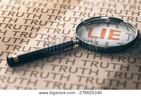 3d Illustration Of A Magnifying Glass With Focus On The Word Lie Over Kraft Paper Background, Privat