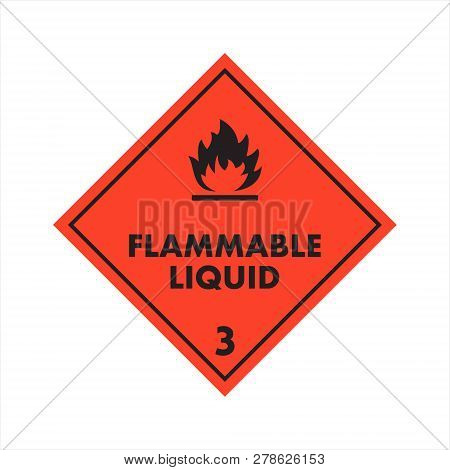 Flammable Liquid 3 Level Attention Isolated Sticker On The Orange Background