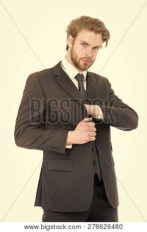 Business And Success. Manager With Beard On Serious Face. Man In Formal Outfit Isolated On White. Fa