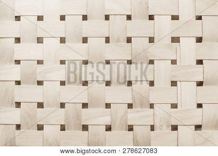 Woven Brown Wooden Strips Pattern Or Wickerwork Bamboo Texture Background.