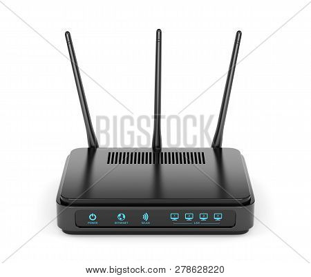 Modern Wireless Wi-fi Router With Three Antennas Isolated On White Background. High Speed Internet C