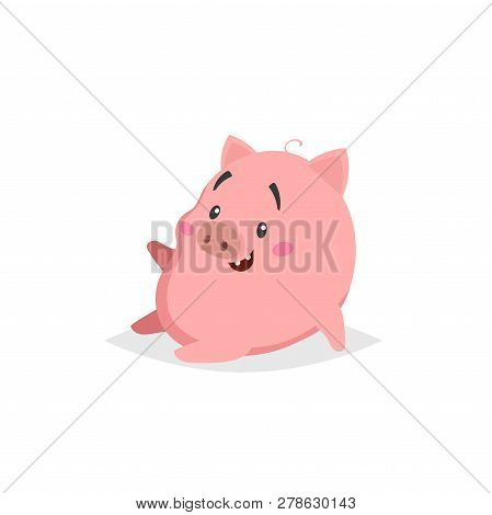 Cartoon Cute Pig. Sitiing And Laughs Little Piglet With Funny Face. Domestic Animal Character. Vecto