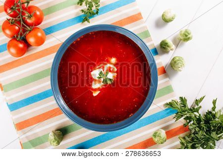 Ukrainian Red Borscht Sour Cream Top Down View