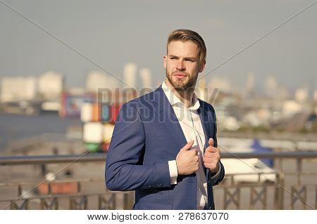 Man In Formal Outfit Outdoor. Manager With Beard On Serious Face. Modern Life And Agile Business. Bu