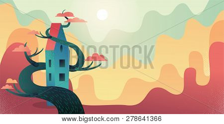Autumn Background With Fairytale Long House Entwined With Wood Red Crown Tree. Nature Landscape With