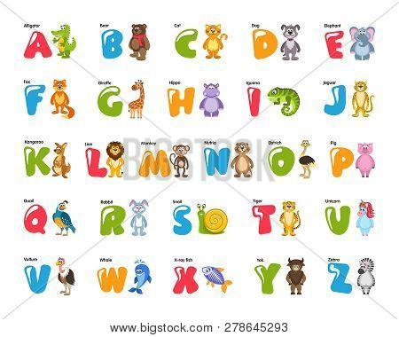 Zoo Alphabet For Kids With Funny Animals, Birds, Fish. Colorful Elephant, Lion, Zebra, Iguana, Giraf