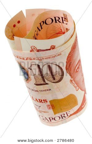 Singapore Currency Rolled