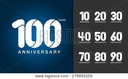 Set Of Anniversary Logotype. Anniversary Celebration Design Template For Booklet, Leaflet, Magazine,