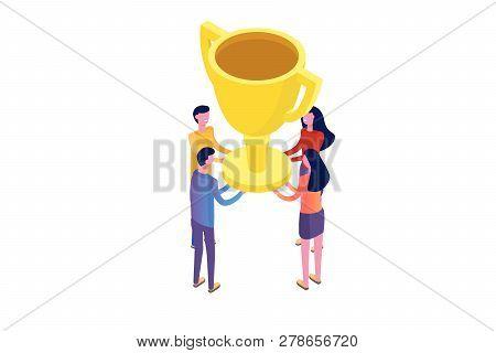 Teamwork, Success, Victory Team Concept Isometric. Vector Illustration.