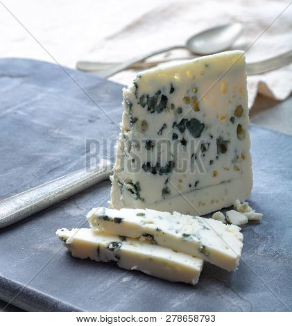 French Blue Cheese Roquefort, Made From Sheep Milk In Caves Of Roquefort-sur-soulzon