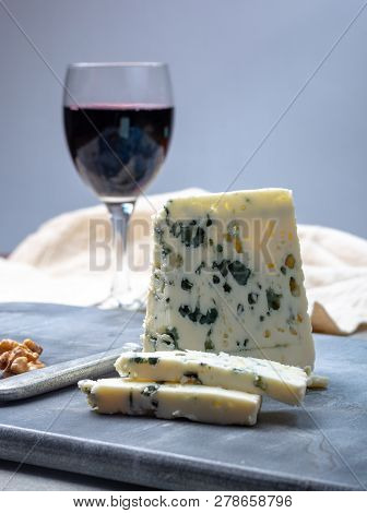 French Blue Cheese Roquefort, Made From Sheep Milk In Caves Of Roquefort-sur-soulzon And Glas With R