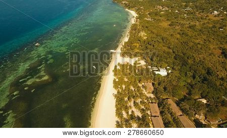 Aerial View Tropical Beach On The Island Bohol, Philippines. Beautiful Tropical Island With Sand Bea